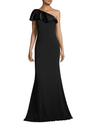 Ruffled One Shoulder Gown by Badgley Mischka