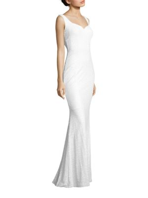 Sequined Cowl-Back Gown by Badgley Mischka