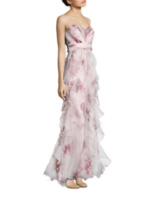 Strapless Ruffled Silk Gown