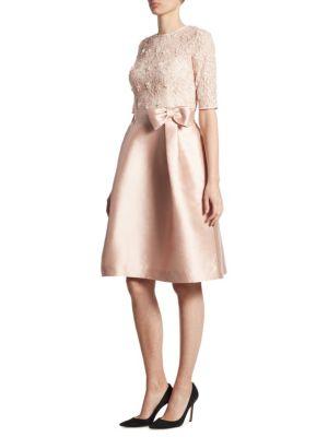 Lace & Gazar Bow Dress