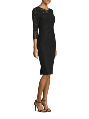 Lace & Neoprene Sheath Dress