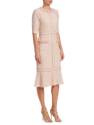 Elbow Sleeves Boucle Dress