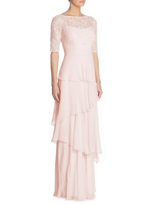 Tiered Lace & Chiffon Gown