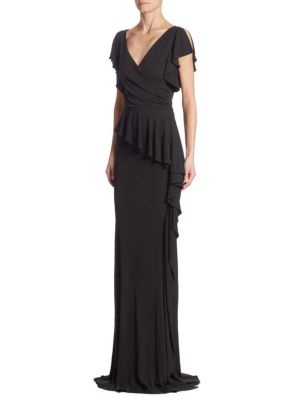 Jersey Ruffled Peplum Gown