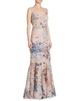 Sleeveless 3-D Floral Lace Gown