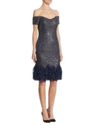 Off-The-Shoulder Beaded Fringed Dress