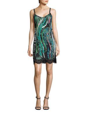 Girl Hero Embellished Lace Slip Dress