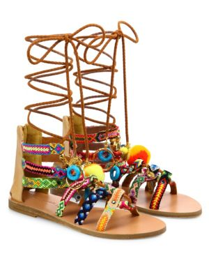 ELINA LINARDAKI Pinata Embroidered Leather Mid-Wrap Sandals