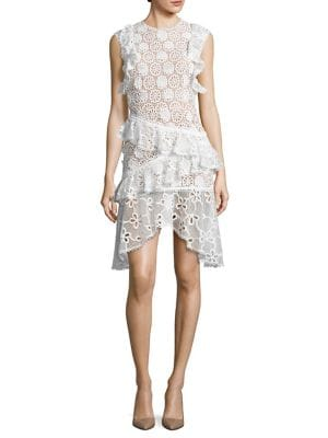 Arleigh Sleeveless Floral Lace Ruffle Dress