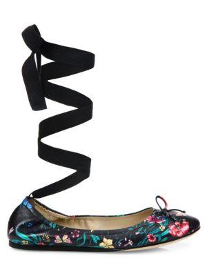 Floral-Print Leather Ankle-Wrap Ballet Flats