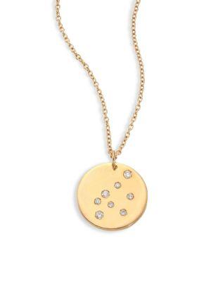 BARE Constellations Aquarius Diamond & 18K Yellow Gold Pendant Necklace