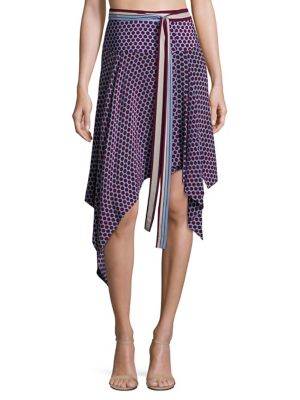 Danica Polka Dot Silk Wrap Skirt