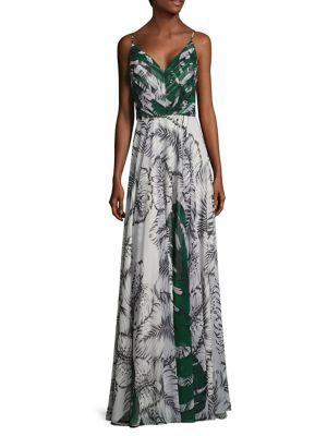 Leaf Printed Chiffon Gown