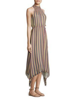 Striped Silk Mockneck Dress
