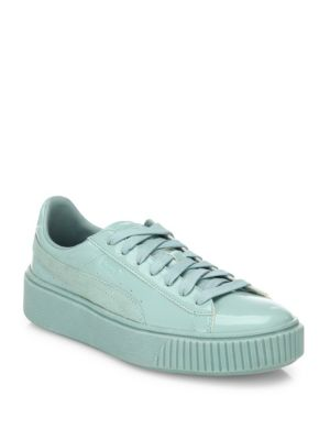 Basket Platform Patent Leather Sneakers