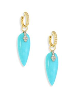 Champagne Diamond & Turquoise Teardrop Earring Charms