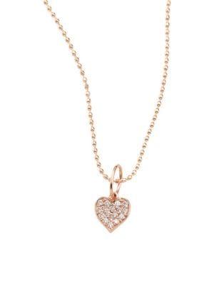 Heart Diamond & 14K Rose Gold Pendant Necklace