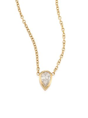 Teardrop Diamond & 14K Yellow Gold Choker