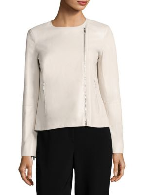 Christa Pebbled Leather Moto Jacket by Lafayette 148 New York
