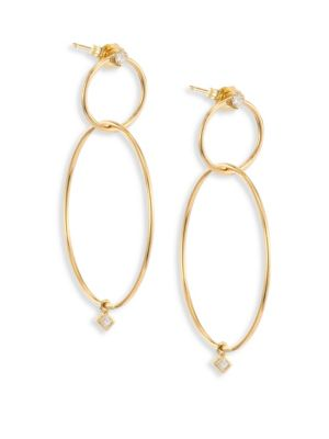 Diamond & 14K Yellow Gold Double-Circle Drop Earrings
