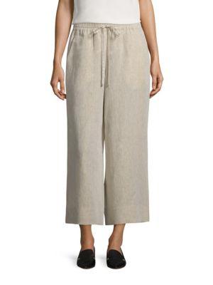 Cropped Linen Drawstring Pants