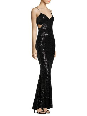 Cross Over Sequined Gown