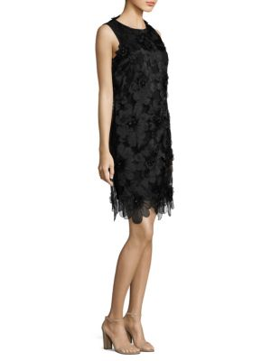 Floral-Applique Shift Dress by Badgley Mischka