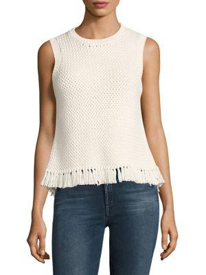 THEORY Meenara Crosshatched Knit Tank Sweater, White