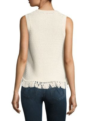 THEORY Meenara Crosshatched Knit Tank Sweater, White in Shell White