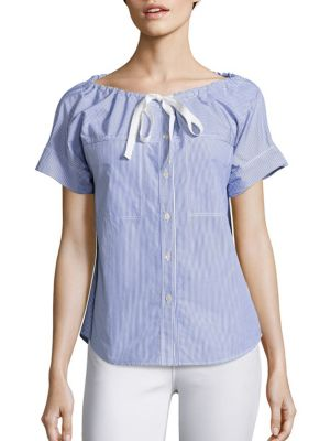Velvela Striped Cotton Shirt by Theory