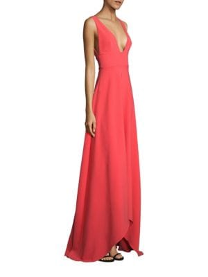 Solid Sleeveless High-Low Gown