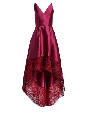 Lace Trim Hi-Lo Gown