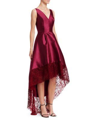 ML MONIQUE LHUILLIER Lace Trim High-Low Gown