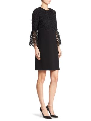 Guipure Bell Sleeve Lace Dress