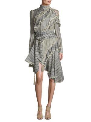 Cavalier Antique Striped Silk & Lenin Shirt Dress