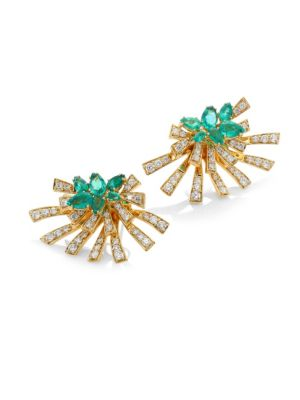 Mirage Diamond & Green Emerald Stud & Ear Jacket Set