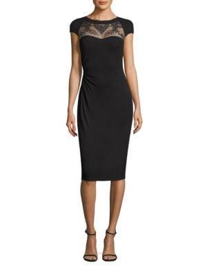 Mesh Yoke Jersey Dress