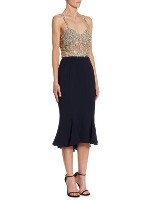 Embellished Silk Cocktail Dress