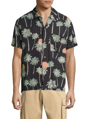 Nevin Relaxed Woven Hawaii-Print Shirt