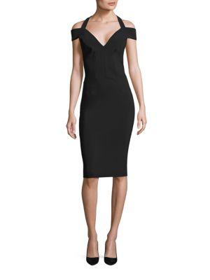 Santina Halter Off-The-Shoulder Dress