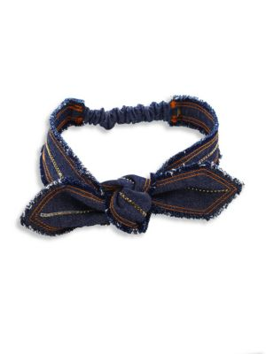 Knotted Crystal-Trimmed Denim Headband