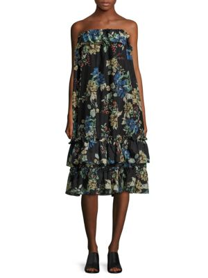 Florian Strapless Ruffled Midi Dress
