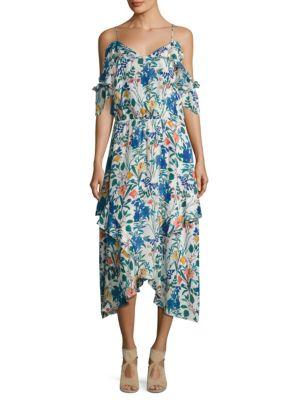 Kam Cold Shoulder Floral Silk Dress