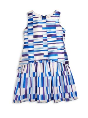 Girl's Royal Reign Geometric Drop Waist A-Line Dress