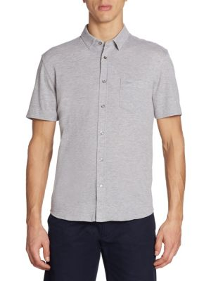Heathered Short-Sleeve Casual Button-Down Shirt