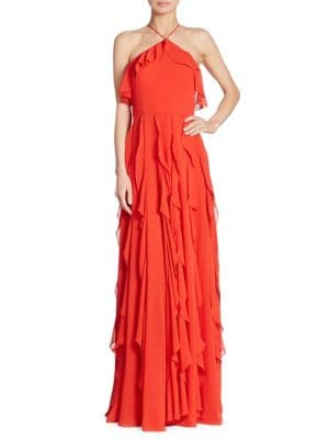 Solid Ruffled Halterneck Gown