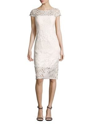 Paneled Lace Sheath Dress