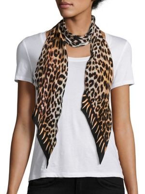 Leopard's Teeth Skinny Silk Scarf