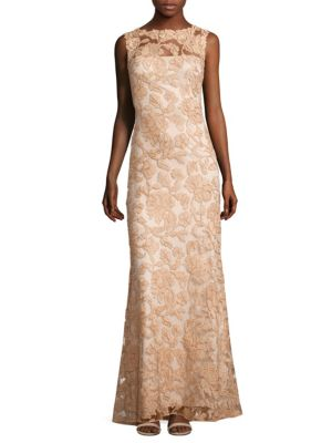 Sleeveless Floral Lace A-Line Gown