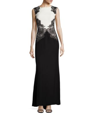 Colorblock Lace Gown